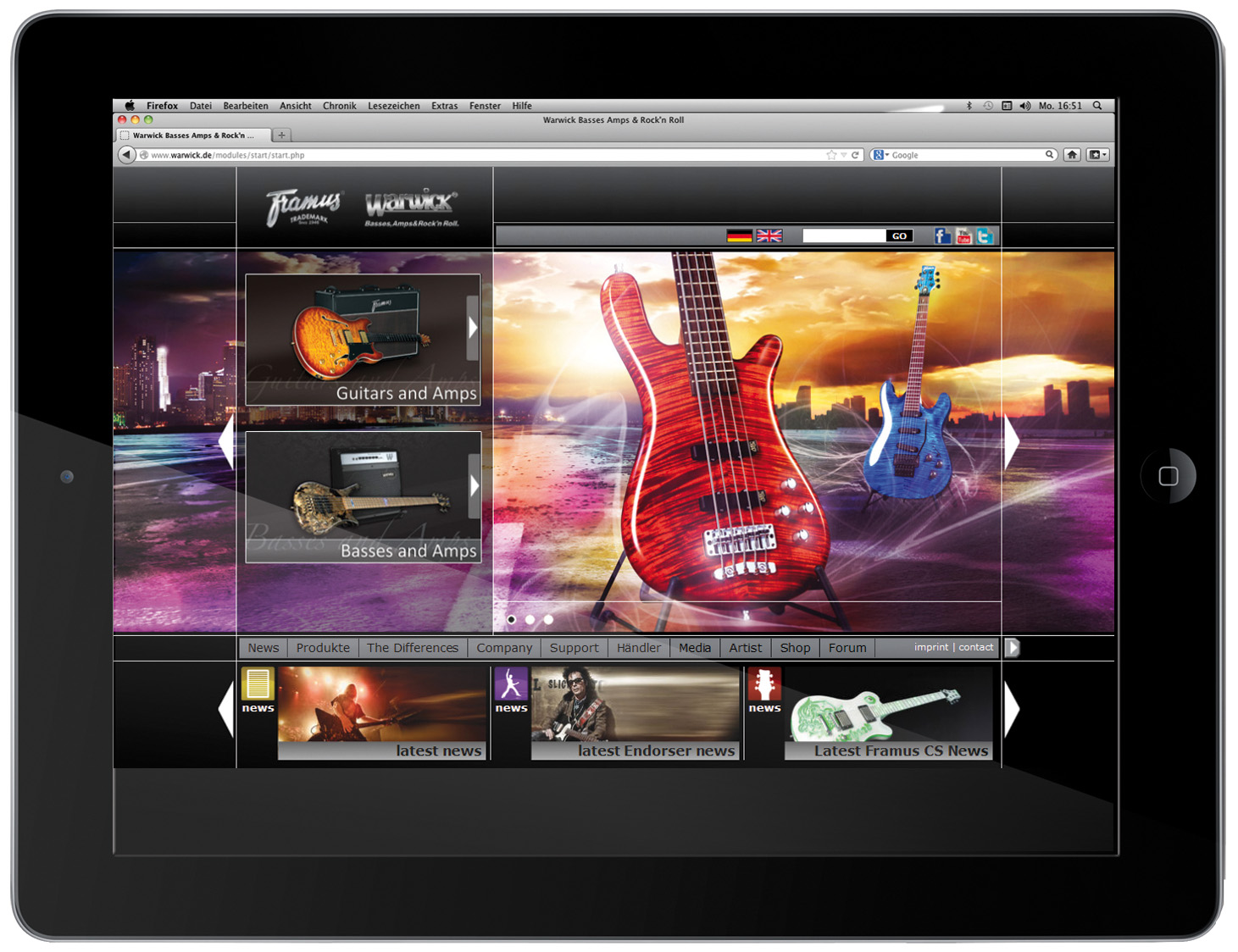 Warwick & Framus new website