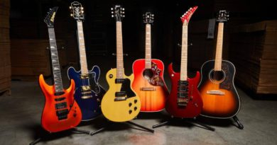 JoyRxMusic&Gibson Guitar Giveaway(L-R):Kramer SM1 Orange, EpiphoneSheratonII Pro Midnight, Gibson LP Special TV Yellow, Gibson Hummingbird Faded Cherry, Kramer Jersey Star Red, and the EpiphoneMasterbiltJ-45 Acoustic. Photo: Gibson Press Release